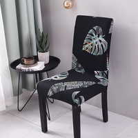 Urijk 6PCS Spandex Printing Chair Covers Pattern Chair Seat Kitchen Seat Case Protector Slipcover for Banquet Party Hotel