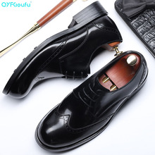 QYFCIOUFU 2019 Round Toe Dress Shoes Men Fashion Genuine Leather Wedding Shoes Luxury Lace-up Business Office Men Formal Shoes