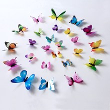 12pcs 3D Butterfly Decals Removable Wall Stickers Mutil Color Set Kids Room Decor Wallpaper Decoration DIY Lifelike Art