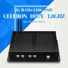 Новейший процессор celeron C1037U 2 г оперативной памяти DDR3 128 г ssd + wifi алюминиевый сплав безвентиляторный дизайн