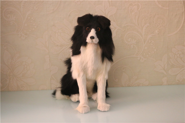 simulation black&white sitting dog toy polyethylene&furs shepherd dog model gift about 34x30cm 2935