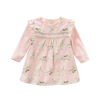 DB3877 Dave Bella Spring Baby Girls New Bird Printed Dress Pink Flower Patterns Dress Latest