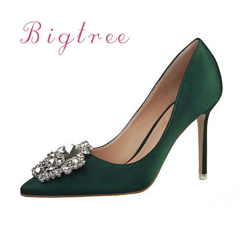 541784c82a7 US $26.53 30% OFF|Women shoes brand female Cinderella diamond slipper red  gold High heeled shoes thin heels pointed toe green woman wedding shoes-in  ...