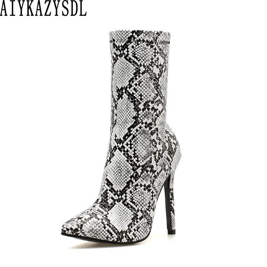 ... about AIYKAZYSDL Autumn Spring Women Ankle Boots Snakeskin Print Faux  Leather Bootie High Heel Stilettos Party Clubwear Fetish Shoes on  Aliexpress.com ... 5bff140e77ee