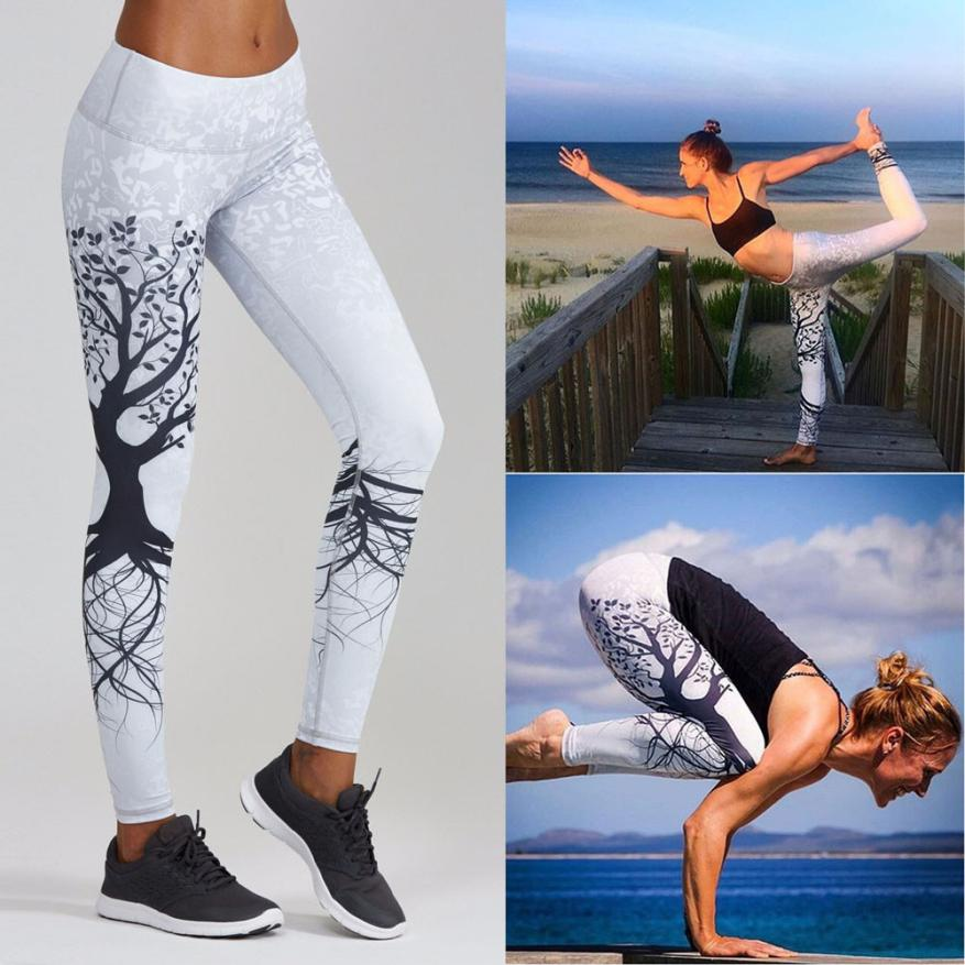 Womail yoga pants sport leggings Women Printed Sports Yoga Workout Gym Fitnessyoga pants sport leggings fitness clothingS-XXL#30 mandalay floral printed ombre yoga leggings