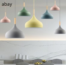 Pendant Light lamp Creative Restaurant lampshade Kitchen Island Living Room Coffee Shop Modern Hanging Lighting Colorful Macaron(China)