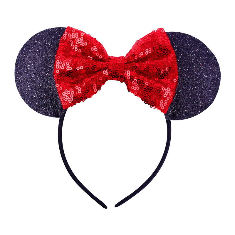 Baby Hair Accessoires Sequin Bow Minnie Mouse Headband Toddler Baby Girl Cartoon Glitter Hairbands Fashion Girls   Headwear   D0863