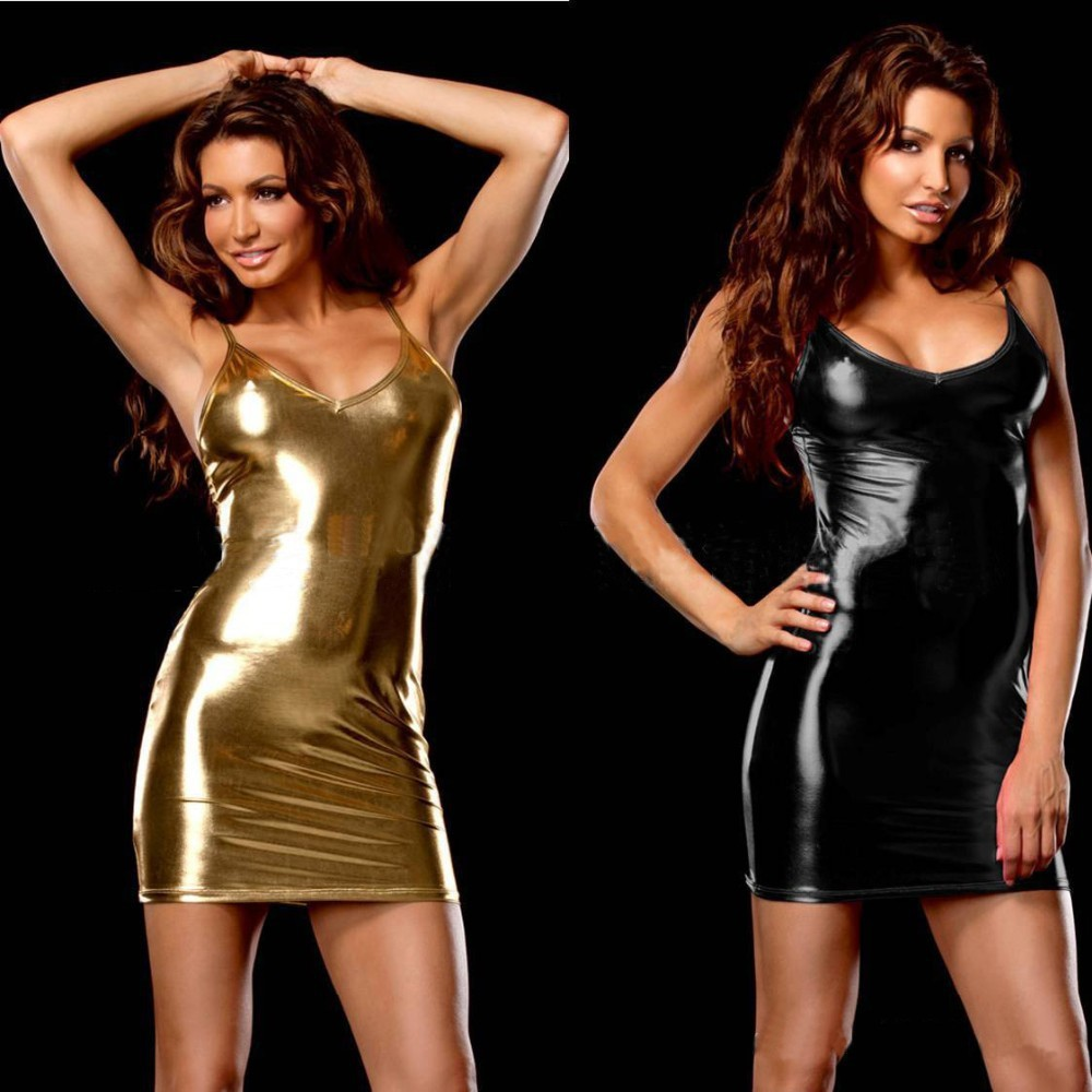 New 5 Color Sexy Lingerie Hot Women Imitation Leather Skirt Teddy Club Sexy Costume Erotic Underwear Sexy Slim Lingerie Dress