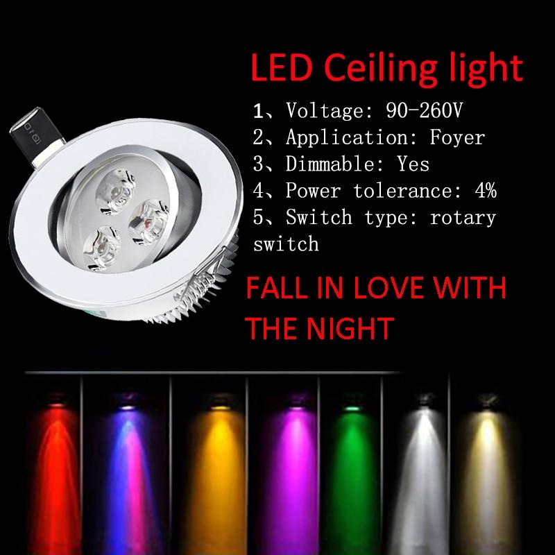 10 pièces ampoule LED SMD2835 dimmable 6 couleurs 3x1 w 3 W LED plafonnier LED épistar encastré Spot lumière Downlight 110 V 220 V