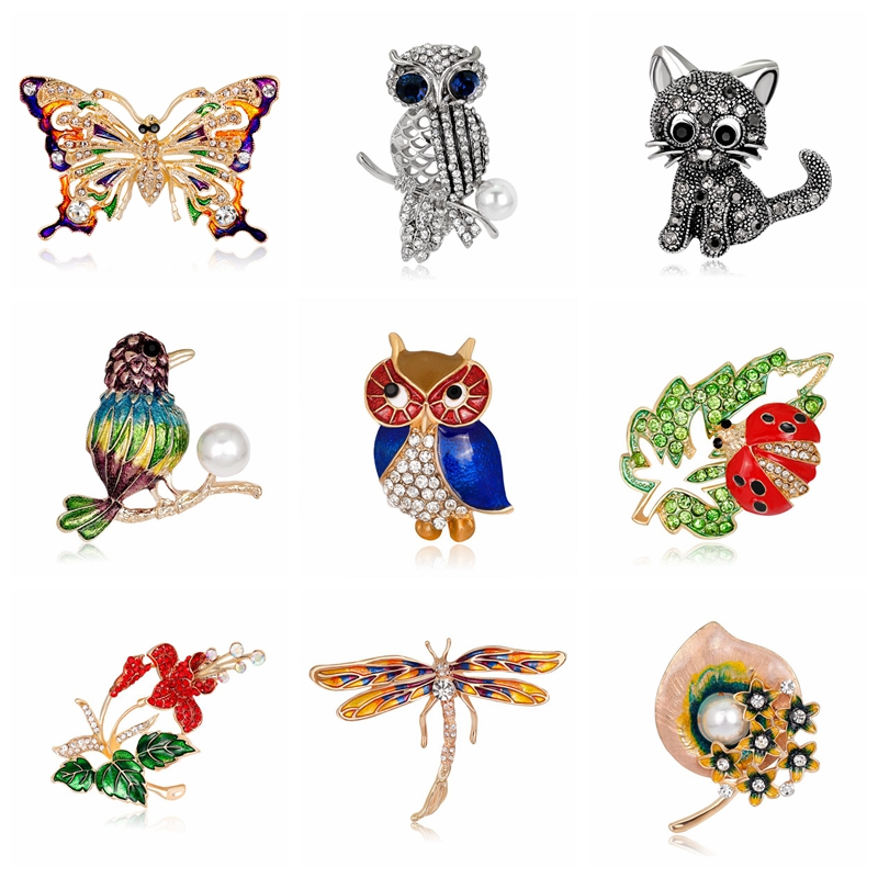 Rinhoo wild animals Brooch pins butterfly cat owl bird Brooch For women Rinestone Brooch Beautiful Brooch new year gift
