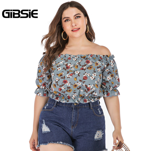 GIBSIE Plus Size Floral Print Boho Off Shoulder Ruched Crop Top Blouse 2019 Summer Holiday Casual Womens Tops and Blouses 1