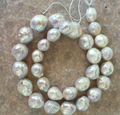 classic huge12-14MM natural south sea baroque white pearl necklace 18""