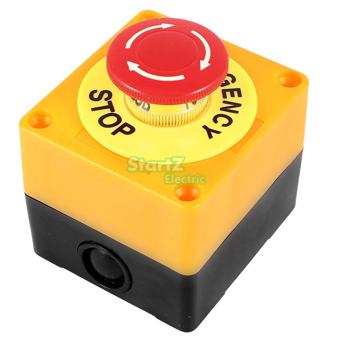 AC 660V 10A Plastic Shell Red Sign Emergency Stop Mushroom Push Button Switch 19mm metal waterproof aluminum push button switch mushroom emergency stop button press button 19mgjt stop l s kb