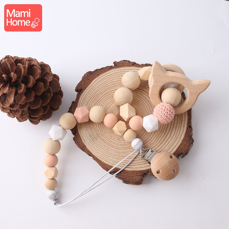 Mamihome 1Set Pacifier Chain Cartoon Natural Wood Beads Ring Baby Rattle Animals Pendant Newborn Gifts Wooden Teether Toys Gift