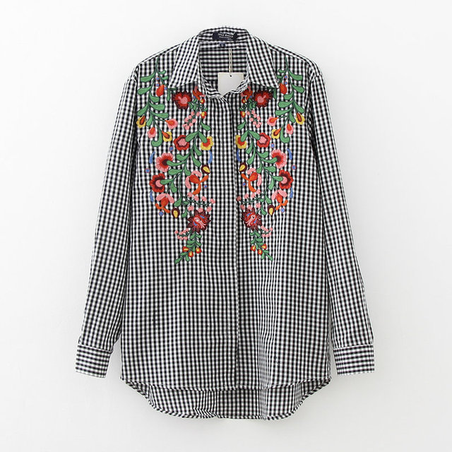 2017 New Spring Women Vestido Floral Embroidery Plaid Blouse Female Long Sleeve Work Shirt Women Blusa Feminina LS1028