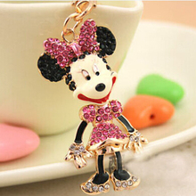 Free Shipping! New Full Rhinestones Mickey Minnie Mouse Bag  Keychains Key Ring Valentines Holiday Gifts Wholesale Promotion