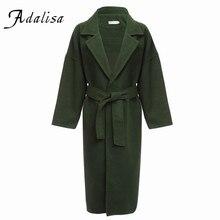Adalisa Long Wool Blend Trench Coat Women Pockets Warm Winter Jacket Coat with Belt Girls Long Sleeve Woolen Female Overcoat