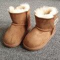 De piel de oveja de Piel de Bebé de la Nieve Botas Niños Chicas Feas Botas de Invierno Cálido Zapatos de Los Niños Niños de la Marca de Cuero Geanuine Australia Sneakers