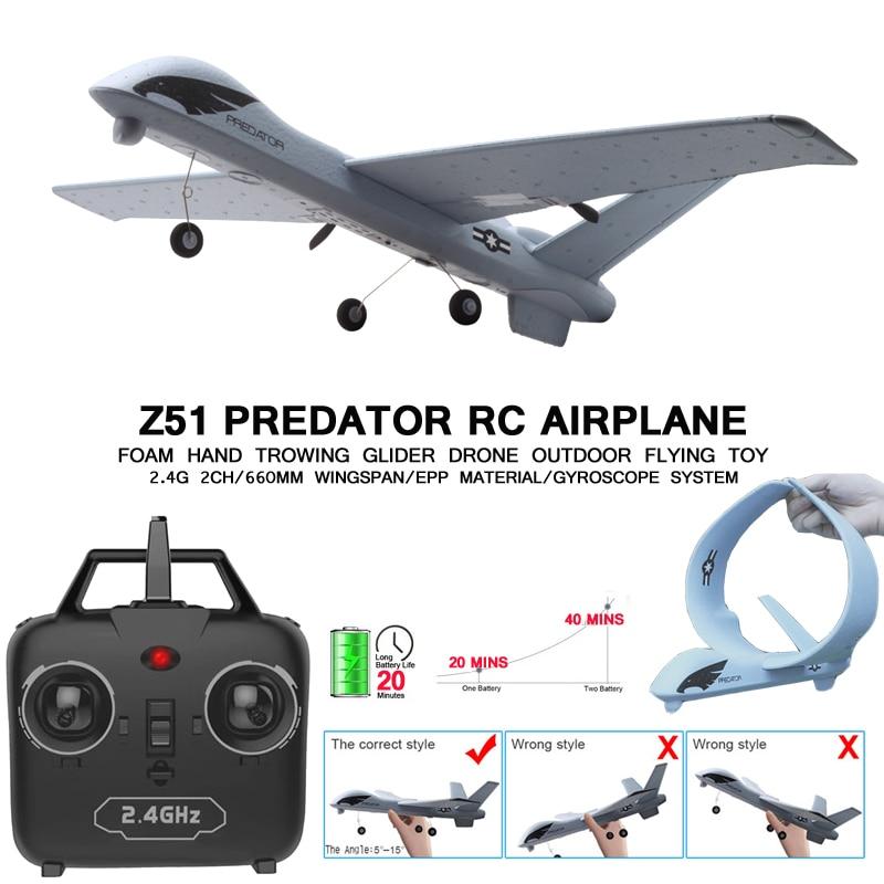 Avion RC 20 Minutes temps de vol planeur jouet avion avec LED 2.4G télécommande main lancer envergure enfants RC Jet avion mousse 1