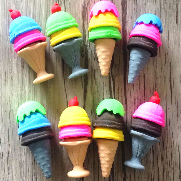 4pcs/lot Kawaii Ice Cream Cone Shape Rubber Eraser  For Kids Lovely  Cute Stationery Children Gift