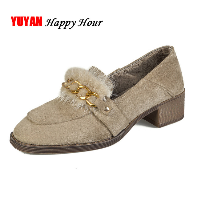 9f7c20cb38b US $45.46 |Women Shoes High Heel Winter Fur Fashion Womens Pumps Italian  Shoes Ladies Square Heels Laides Suede Leather Shoes A435-in Women's Pumps  ...