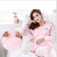 Spring cotton suit pregnant women breastfeeding pajamas thermal underwear postpartum month of pregnancy clothes