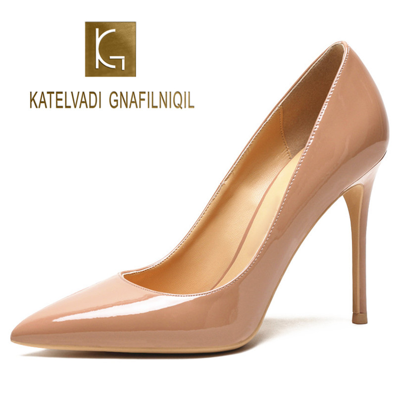 KATELVADI Women Pumps Nude Lacquer Patent PU Leather 10CM High Heels Shoes for Wedding Party Sexy
