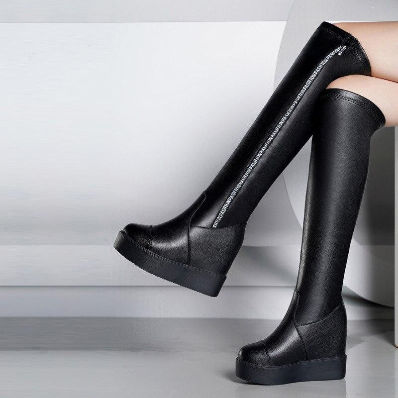 Alto Cuñas En De Plataforma La Mujeres Hasta 2019 Mujer Tacón Botas Zapatos Las Sexy Rodilla Bota Invierno Antideslizante Negro qBP1wH