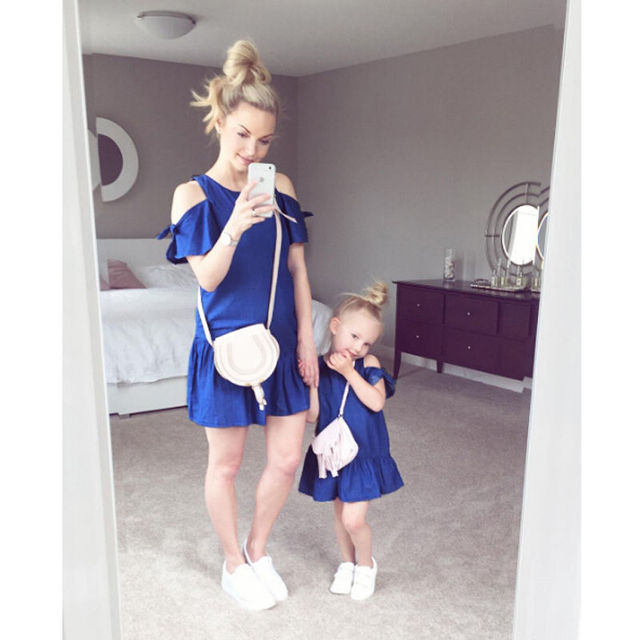 e56150c310 Summer Family Dresses Mother Daughter Matching Dress Mom Off Shoulder Dress  Baby Girls Ruffled Mini Dress Solid Loose Sundress