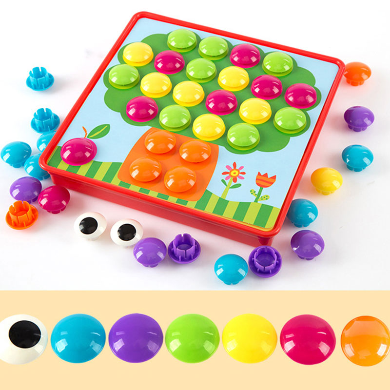 Button Puzzles For Kids Mushroom Nails Kit Baby Mosaic