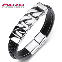 MOZO FASHION New Charm Men Bracelet Black Leather Hollow Stainless Steel Magnet Buckle Bracelet High Quality