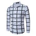 2017 мужские рубашки платья slim fit блузка повседневная плед camisas социальной masculina turn down повседневная с длинным рукавом белая рубашка tommys Z10