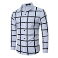 2017 mens dress shirts slim fit blouse casual plaid camisas social masculina turn down casual long sleeve white shirt tommys Z10