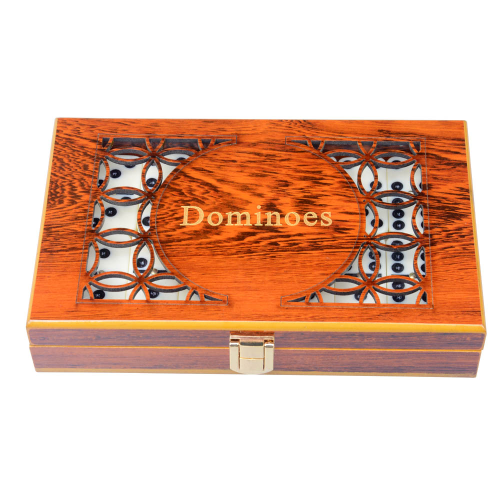 Brand new Entertainment toys Standard Double 6 melamine Dominoes with Hand Made Carving Wooden Box brand new 2015 6 48 288 a154