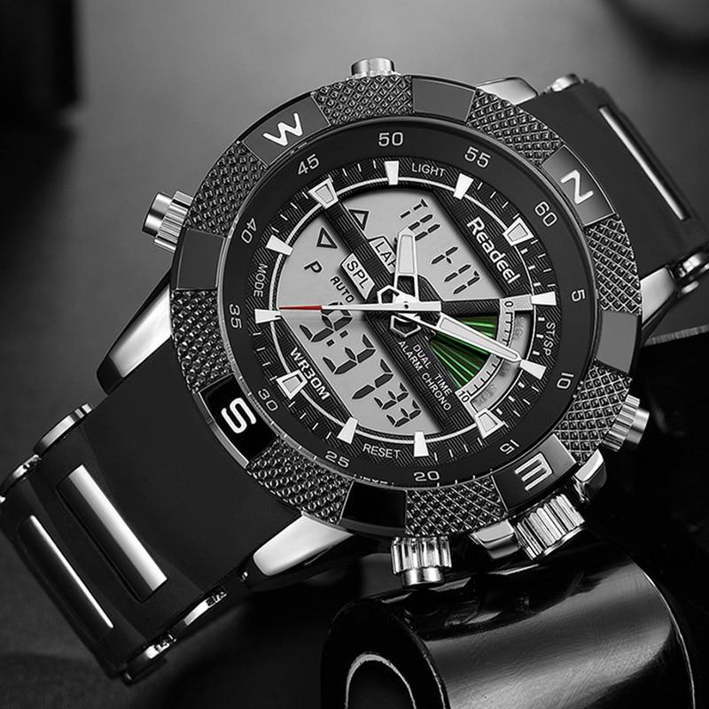 9294dd84f76a Comprar Hombres deportes relojes moda reloj del cuarzo de los hombres LED  militar reloj hombre reloj Top marca de lujo Relogio Masculino READEEL  Online ...