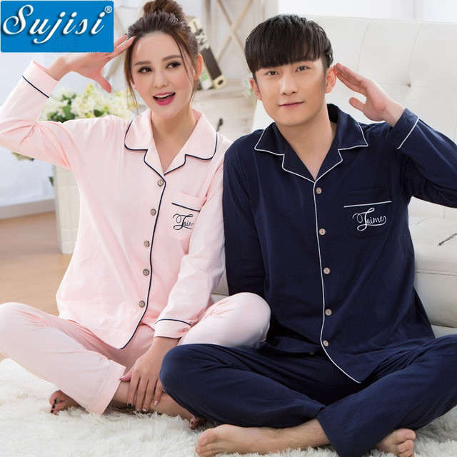 New autumn and winter long-sleeved cotton pajamas couple male 100% cotton tracksuit men set pyjamas men pijama masculino 38-43