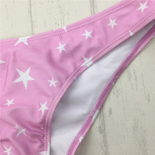 Women Bikini Triangle Strappy Print Stars