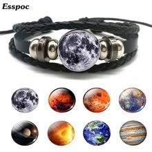 Solar System Bracelet Moon Earth Mars Jupiter Planet Braided Leather Unisex Punk Galaxy Nebula Button