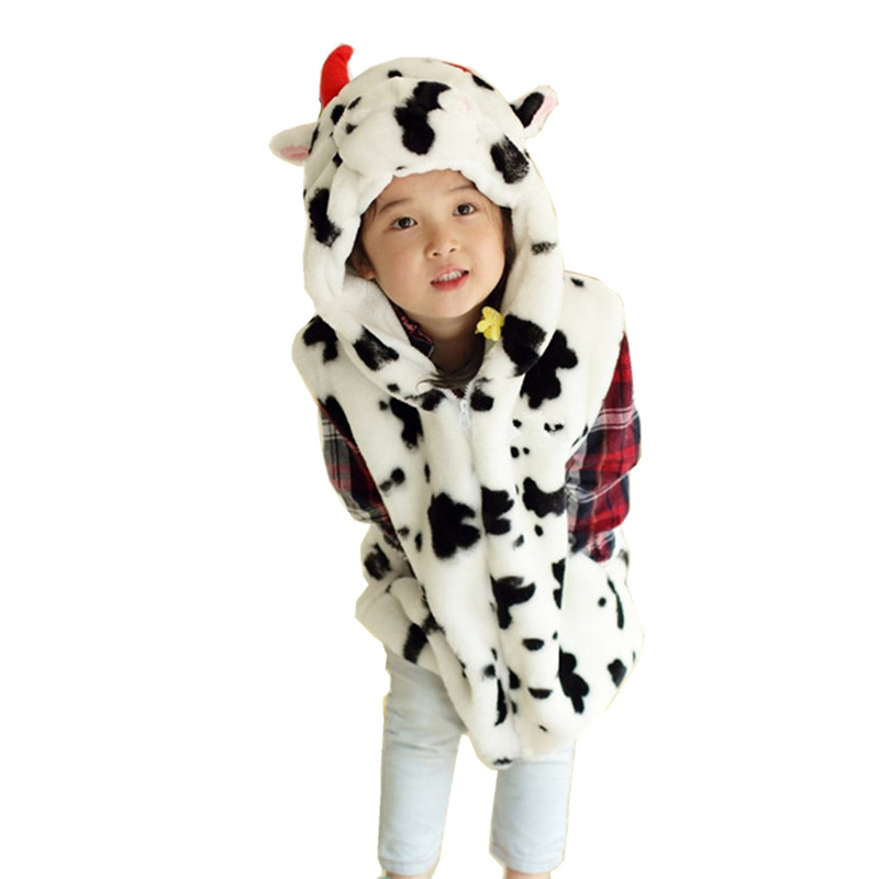 DOUBCHOW Baby Clothing Cute Animal Vest Unisex Childrens Cartoon Cow Winter Hooded Kids Girls Boys Cosplay Costume Outwear Coat