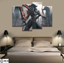 4 Panel WLOP Ghost Blade Warcraft GAME Canvas Poster Printed Painting For Living Room Wall Art Decor Picture Artworks