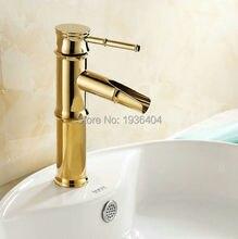Золото полированная латунь кран ванной бассейна раковина смесители кран высокий водопроводной воды ванная комната бамбук G1084