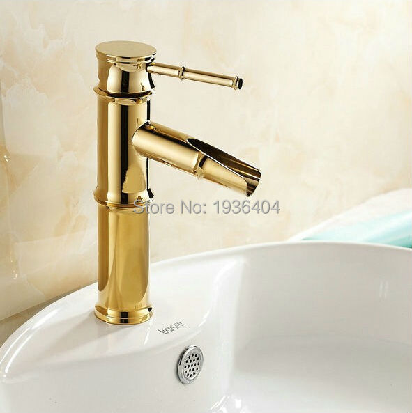 Gold Polished Brass Faucet Bathroom Basin Sink Mixer Tap Faucet Tall ...