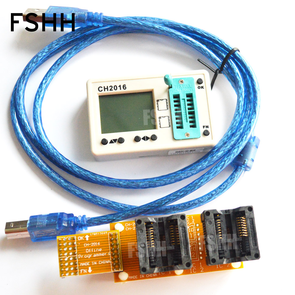USB SPI FLASH programmer CH2016 +300mil SOP16+SOP16 test socket Production 1 drag 2 programmer usb tl866cs programmer eprom spi flash avr gal pic 9pcs adapters test clip 25 spi flash support in circuit programming adapter