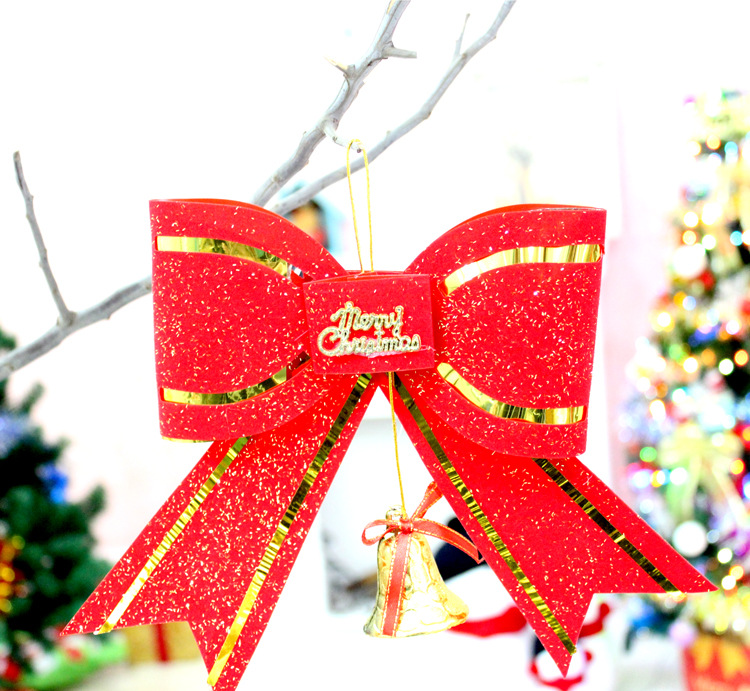 New Hot Sale 10Pcs/lot Double layered Christmas big bow tie, Christmas decorations, Christmas Tree Pendant, bow tie