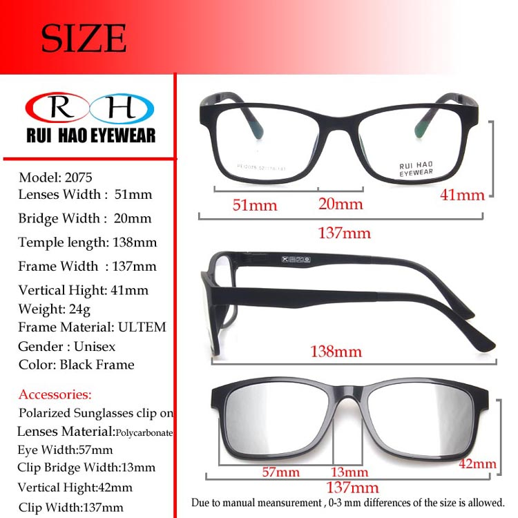 e5692714ba2 2019 Brand Eyeglasses Frame Rectangle Glasses Frame Men Women 2in1 ...