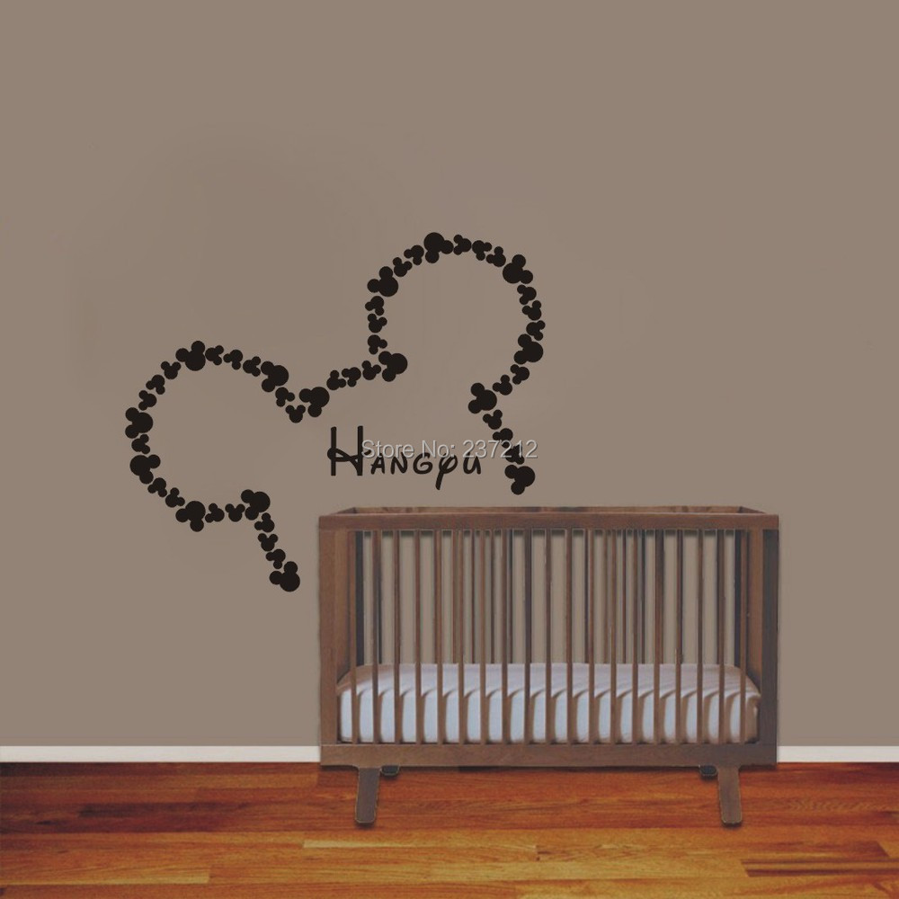 Wall Vinyl Designs vinyl wall clock design Wall Vinyl Sticker Decals Art Home Decor Design Mural Personalized Custom Baby Name Head Mice Ears