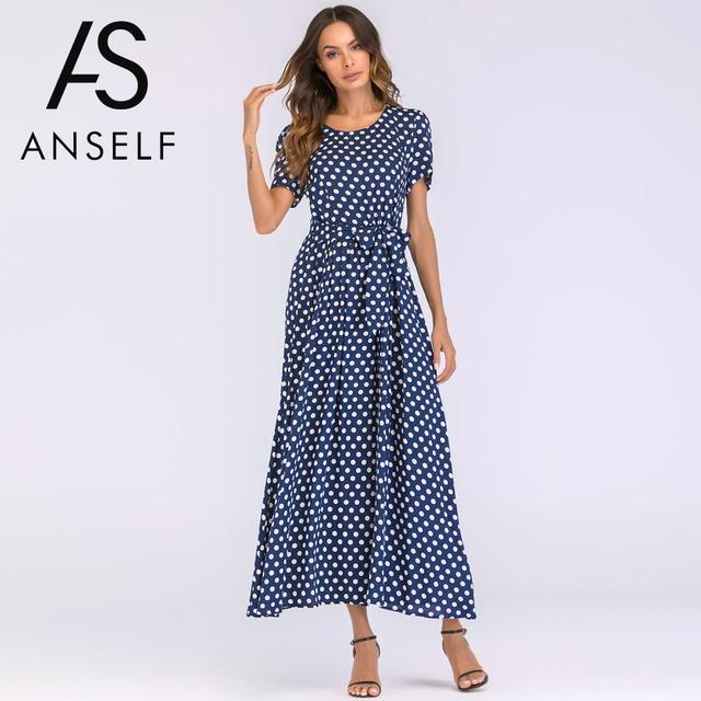 1957a1e36c Plus Size 3XL 4XL 5XL Vintage Maxi Dress Women Bohemian Polka Dot Dress  Short Sleeves High Waist A Line Long Robe female Gowns