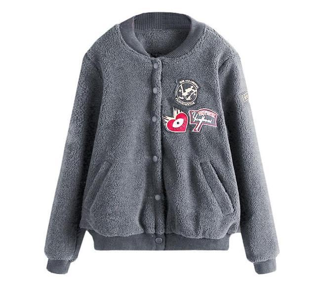 2017 Spring Women Long sleeves Slim Female Coat Simple Slim Short Student Sheep velvet Jacket