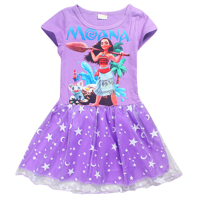Moana Little Girls Printed Dress Princess Cartoon Party Dress moon star bling Carnival Costume Baby girl  sc 1 st  AliExpress.com & Moana Little Girls Printed Dress Princess Cartoon Party Dress moon ...
