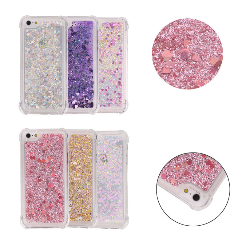 Phone Glitter Quicksand Soft TPU Silicone Cases Cover Shell Fundas for Apple iPhone 5 5S SE 6 6S 7 8 Plus X for iPod Touch 5/6